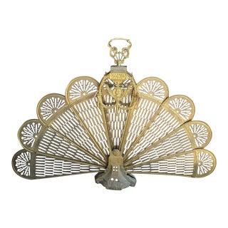 French Brass & Bronze Peacock Fireplace Screen