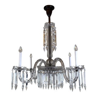 4 Arm Victorian Crystal Chandelier.