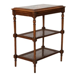 French Tiered Side Table with Marble Top and Caned Shelves