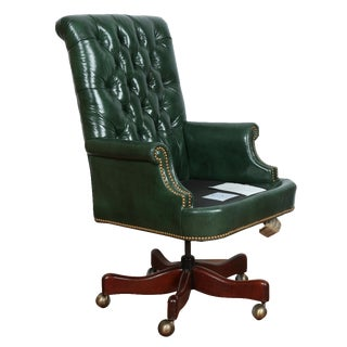 Hickory Green Leather Chesterfield Office Chair
