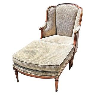 Louis XVI-Style Duchesse Brisee Chaise & Ottoman - A Pair