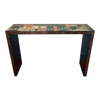 Mid-Century Hollywood Regency, Asian - Maitland Smith Attr. Lacquered Console Table