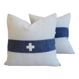 Nautical White & Blue Striped Wool & Linen Pillows - A Pair