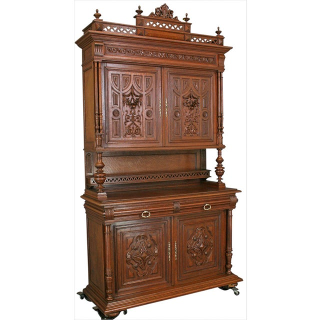 Image of Antique Carved Oak French Henry II Hutch