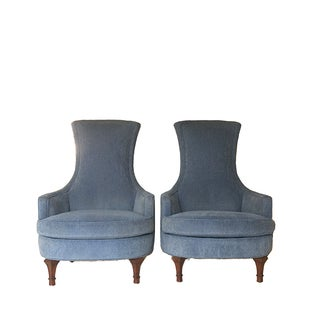 Vintage Blue High Back Chairs - Pair
