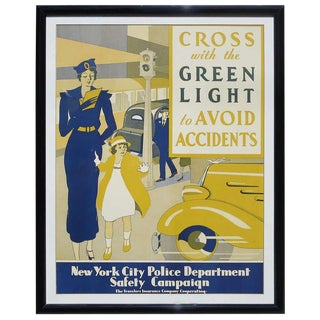 1930's Art Deco New York Police Safety Poster