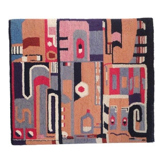 Abstract American Hand-Hooked Mounted Rug with Indian Design