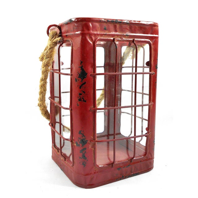 Red Rustic Tin Glass Candle Lantern & Rope Handle - Image 2 of 6