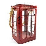 Image of Red Rustic Tin Glass Candle Lantern & Rope Handle