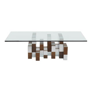 Paul Evans Cityscape Burl & Chrome Coffee Table