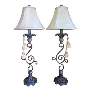 Traditional Iron & Tassel Table Lamps - A Pair