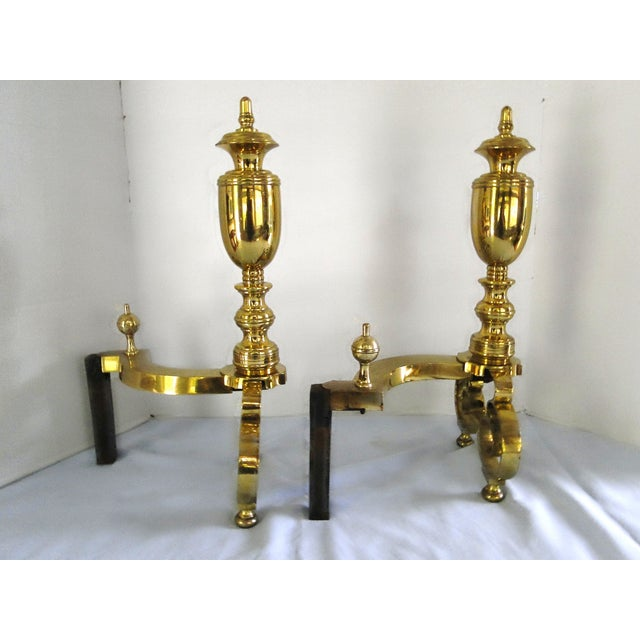 Antique 1908 W.H. Jackson Brass Andirons - A Pair - Image 4 of 8