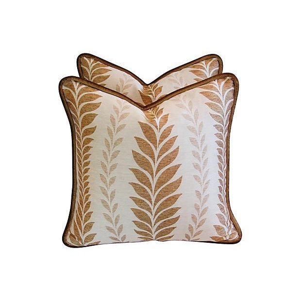 Iman Golden Zahra Golden Leaf Pillows - A Pair - Image 3 of 7