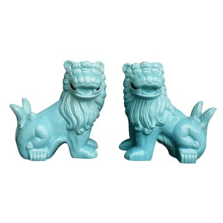 Chinese Porcelain Happy Face Foo Dog Lion Statues - a Pair