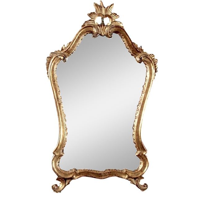 Italian Gilded Mirror with Crown Top - Image 1 of 4