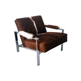 Argentinian Cowhide Milo Baughman Lounge Chair