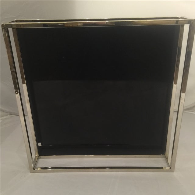 Image of Mid-Century Chrome & Black Lacquered Tray