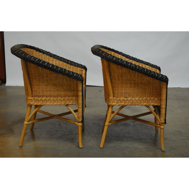 Image of French Grange Style Rattan Club Chairs - A Pair