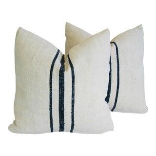 Black Striped European Grain Sack Textile Pillows- A Pair