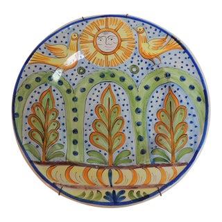 Vintage Round Handpainted Glazed Ceramic Plate