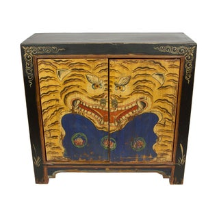 Painted Tiger Tibetan Iconography Cabinet