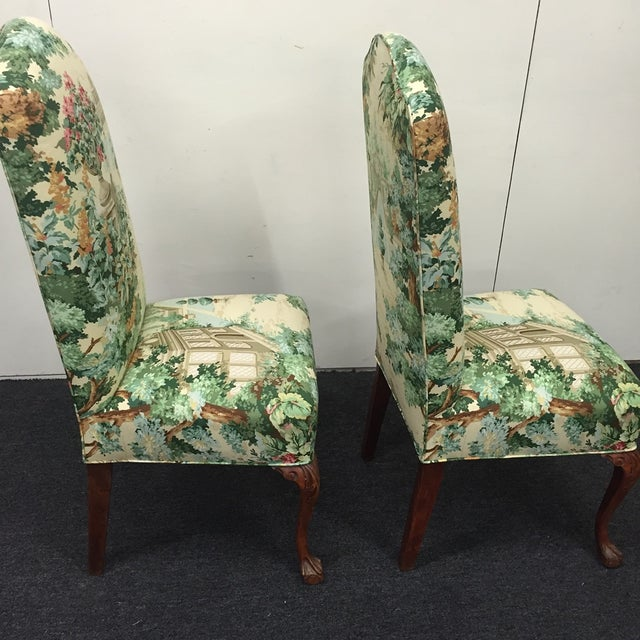 Image of Floral Pattern Accent/Dining Chairs - A Pair