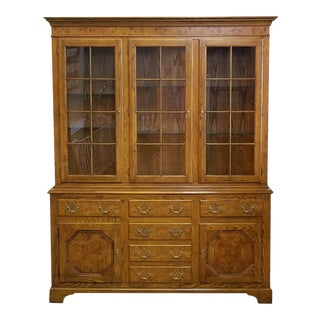 Baker Furniture Queen Anne Style Elm & Oak China Cabinet