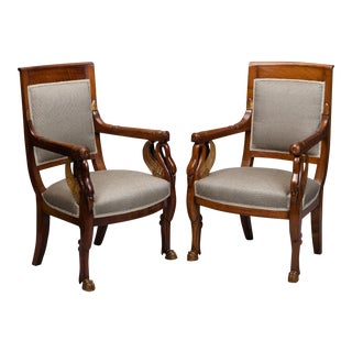 Pair French Empire Mahogany and Parcel Gilt Chairs