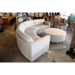 Image of Thayer Coggin Milo Baughman Curved Sofa and Ottoman with Brushed Steel Plinth
