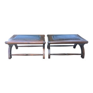 Leather & Wood Ottomans - A Pair