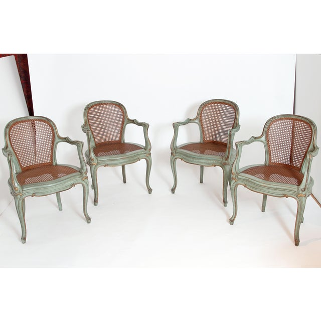 Set of 4 Italian Caned Polychrome Fauteuils - Image 3 of 11