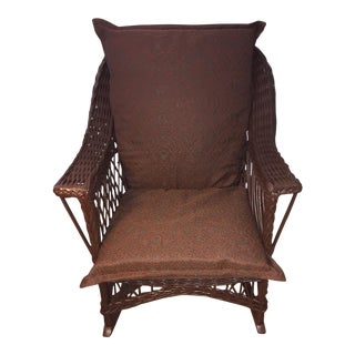 Vintage Dark Brown Wicker Rocker