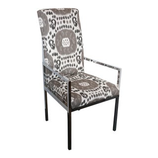 1970s Vintage Newly Upholstered Ikat Arm Chair
