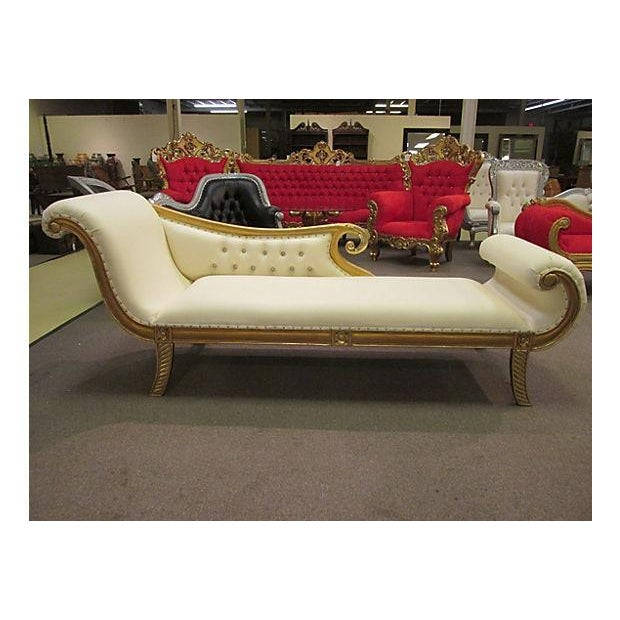 Gold Gilt Leather Chase Lounge Chair - Image 2 of 7