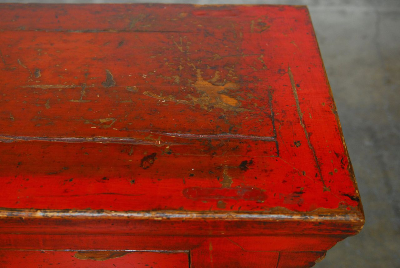 Chinese Red Lacquer Sideboard Console Table   Image 4 Of 10