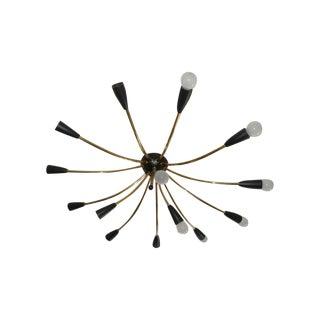 1960's Italian Sputnik Brass Chandelier