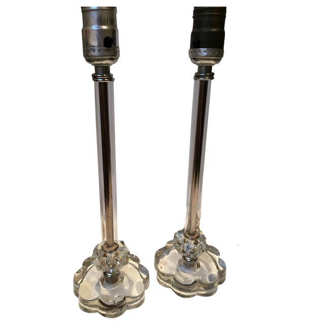 Image of Vintage Glass Lamps - Pair