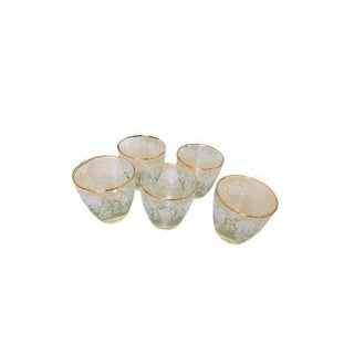 Gold Rimmed Vintage Glasses - Set of 5
