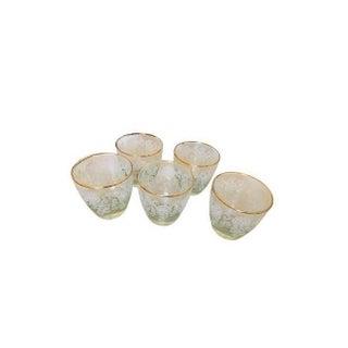 Gold Rimmed Vintage Glasses - Set of 5