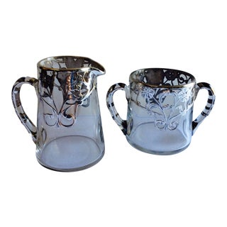 Sterling Overlay Glass Creamer & Sugar - A Pair
