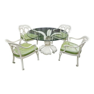 Kessler Biomorphic Aluminum Lily Patio Table & Chairs- Set of 5