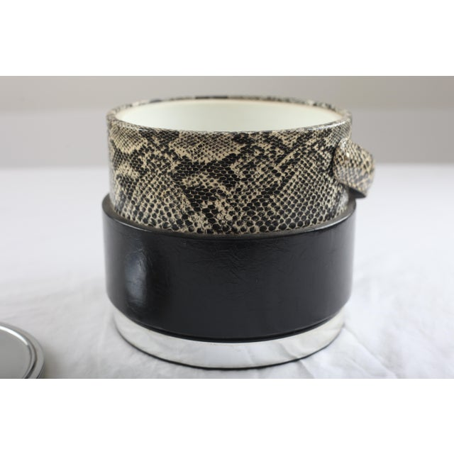 Faux Python Black & Chrome Ice Bucket - Image 5 of 8