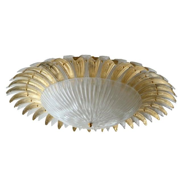 Modern Italian Murano Glass Palm Leaves Chandelier - Image 2 of 4
