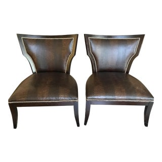 Emerson Et Cie Crocodile Brown Leather Accent Chairs - A Pair