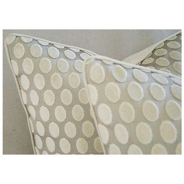 Designer Platinum/White Velvet Dot Pillows - Pair - Image 5 of 8