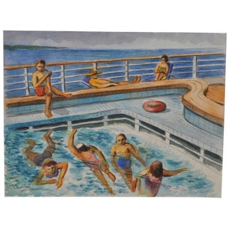 "Arnold Grossman ""Christmas Cruise"" Original Watercolor"