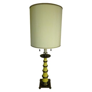 Circa 1960 Faux Bamboo Enamel Table Lamp