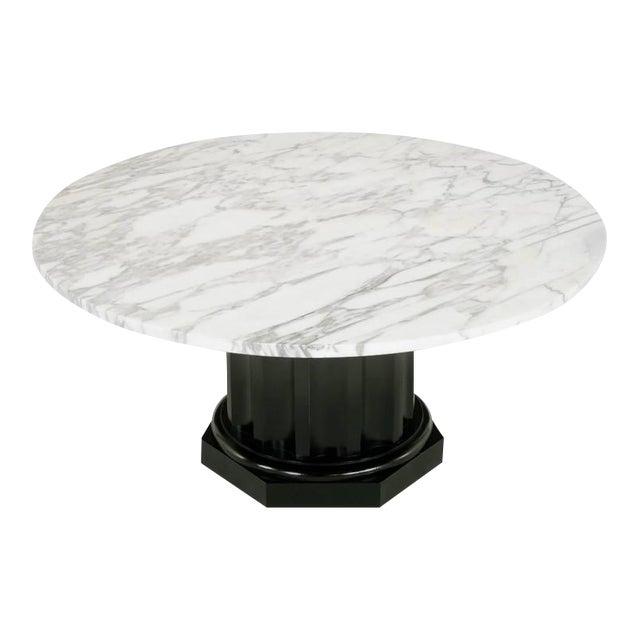 White Carrara Marble Coffee Table with Ebonized Fluted Wood Base - Image 1 of 7