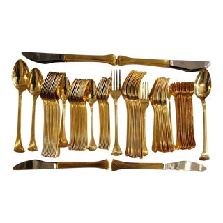 Reed & Barton 1800 Gold Finish Flatware - Set of 86