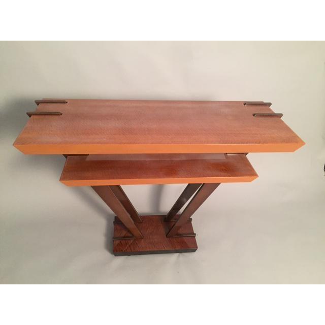 Leavitt Weaver Deco Burl Wood Console - Image 8 of 8